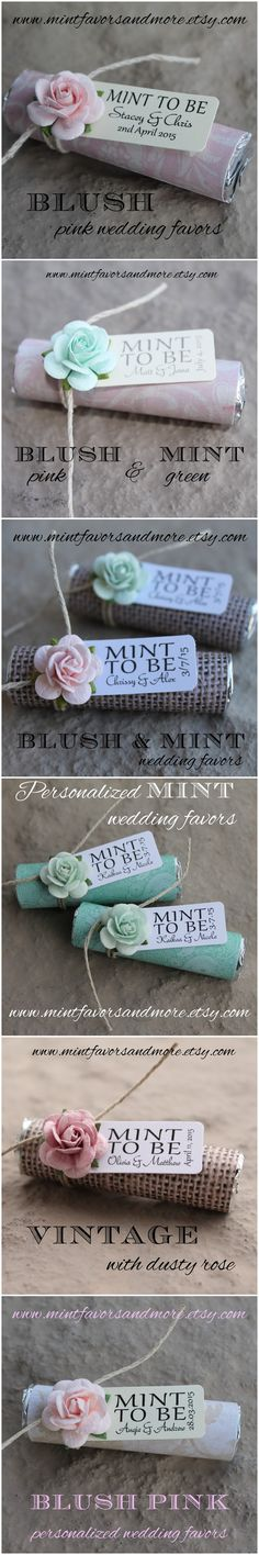 """Clink here to see more """"mint to be"""" favor designs for your blush pink wedding theme. https://www.etsy.com/shop/BabyEssentialsByMel. Pale pink wedding favors personalized for your spring wedding or summer wedding!"""