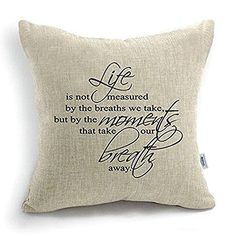 Amazing Uphome 18 Inch Quote Words Square Decorative Cotton Linen Cushion Cover Throw Pillowcase