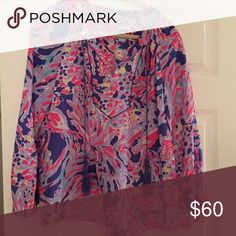 Lilly Pulitzer Shrimply Chic Saria Top - S Worn only a few times! Resort 2015 print. Great condition! Non smoking home, worn for work only. Lilly Pulitzer Tops Blouses