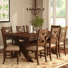 Laurel Foundry Modern Farmhouse Isabell Extendable Solid Wood Dining Set Pieces in Set: 9 Kitchen Dining Sets, Dining Room Sets, Dining Room Design, Dining Room Furniture, Dining Room Table, Coaster Furniture, Dining Area, Furniture Decor, Solid Wood Dining Set