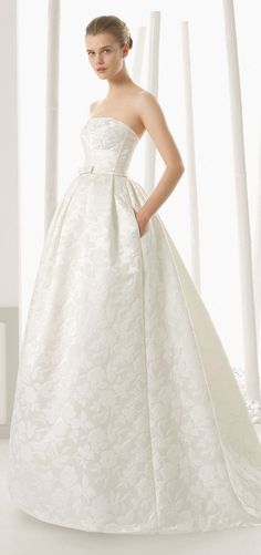 Printed lace and satin wedding dress ball gown | Rosa Clara 2016 Bridal Collection via @BelleMagazine