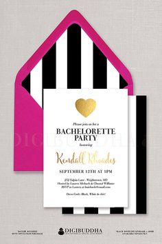 Kate Spade inspired Black & White Bachelorette Party Invitation here with a black & white striped envelope liner and hot pink fuchsia envelope.  Gold foil heart, for bridal shower or wedding invitations, too.  Available at digibuddha.com