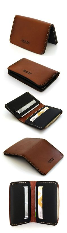 Minimal bifold leather wallet hand stitched in brown leather Slim Leather Wallet, Handmade Leather Wallet, Leather Gifts, Leather Craft, Leather Men, Edc Wallet, Card Wallet, Bags Travel, Minimalist Wallet