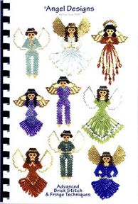 Now 50% OFF SALE! Angel Designs Book    Advanced Brick Stitch & fringe techniques used. Basic brick stitch instructions included. Over 25 large color patterns. 3 different wing patterns, boys, girls, Native Americans.  Large color patterns and sample pictures included. Instructions provided to make these into pins.  These Angels are made into pins and are great gifts or items to sell.