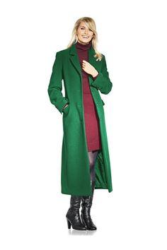 Model lung. 70% lana, 20% poliamida, 10% casmir. Captuseala: 100% poliester. Materialul se poate curata chimic. Lungime aproximativ 130 cm. Culoare: verde....