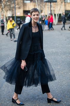 Agyness Deyn outside the Molly Goddard show on day 2 of the London Fashion Week February 2017 collections on February 18 2017 in London England
