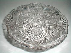 "EAPG Cambridge Glass Nearcut #2579 FEATHERED OVALS  8"" Round Bowl 1905. This pattern was also made by Federal Glass Co."