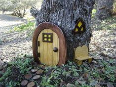Miniature Garden Fairy Door Gnome Door Hobbit Door Elf by casualee Hobbit Door, Gnome House, Most Beautiful Gardens, Miniature Plants, Fairy Doors, Gnome Garden, Garden Accessories, Fairy Houses, Dream Garden