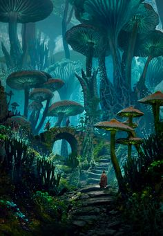 ArtStation - Mushy Land Raphael Lacoste - Pen and Paper -You can find Magical forest and more on our website.ArtStation - Mushy Land Raphael Lacoste - Pen and Paper - Fantasy Concept Art, Fantasy Artwork, Fantasy Paintings, Digital Paintings, Space Fantasy, Digital Art, Fantasy Art Landscapes, Landscape Art, Character Inspiration Fantasy