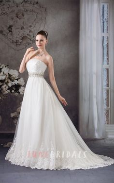 Strapless Tulle Jeweled Gown with Appliques and Corset Back - June Bridals