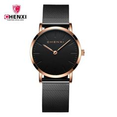 CHENXI Rose Gold Watch Women Quartz Wristwatches Luxury Brand Couple Watches Mesh Belt Bracelet Waterproof Clock Men reloj mujer From Touchy Style Outfit Accessories. Cheap Watches, Cool Watches, Watches For Men, Black Watches, Metal Watch Bands, Black Quartz, Fossil Watches, Quartz Watch, Fashion Watches