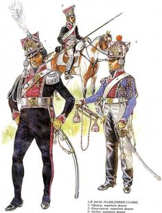 Regiment of Scout-Lancers, officer, trooper and trumpeter in full dress. Empire, Military Costumes, Military Uniforms, Battle Of Waterloo, Waterloo 1815, British Armed Forces, French Army, Napoleonic Wars, Modern Warfare