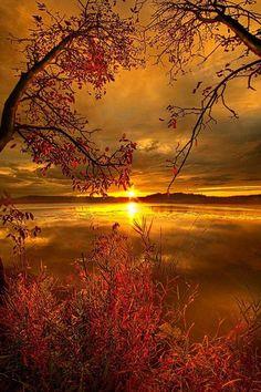Sunset on Mauthe Lake Wisconsin.
