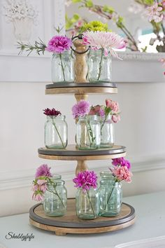 How to Style a Wooden Tired Stand from Shabby Fufu Blog.