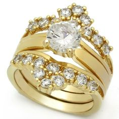 Gold Plated CZ Engagement Ring Wedding Set, 3.75ct. Bellux Style Jewelry. $21.99. Faux Diamond Engagement Ring Weddding Set. 10kt Gold Plating. 2-Piece Ring Set. Engagement Ring can be worn separately. AAA Grade Cubic Zirconia