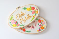 Custom Name Embroidery Hoop. Nursery Decor. Oval Embroidery Hoop. Baby Name Embroidery. Embroidery Hoop Art by KimArt on Etsy https://www.etsy.com/listing/236843008/custom-name-embroidery-hoop-nursery