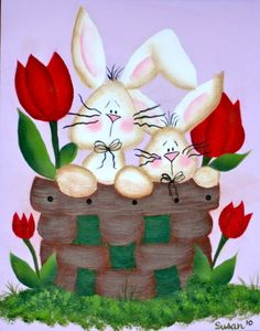 Whimsical bunnies. One Stroke Painting by Susan Earl.