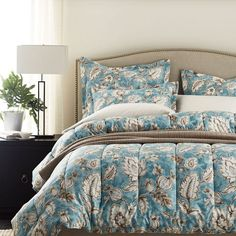 2 Flannel Pillow Shams Floral TWO The Company Store 100/% Cotton 6oz Sateen