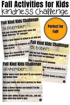 Fall activities for kids wouldn't be complete without a kindness activity...these fall kindness activities from Coffee and Carpool are perfect for September, October, and November to encourage more kindness. Remembering September 11th, November, Kindness Activities, Fun Activities, Letters To Veterans, Kindness Notes, Books About Kindness, Boredom Busters For Kids, Kindness Challenge