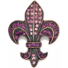 Vintage Style Amethyst Purple Fleur-De-Lis Sign Pin Brooch And Pendant(Chain Not Included) Crystal Brooch, Amethyst Crystal, Purple Amethyst, Crystal Jewelry, Leis, Mardi Gras, Just Love, Stencils, Purple Jewelry