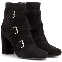Saint Laurent Babies 90 Suede Ankle Boots ($710) ❤ liked on Polyvore featuring shoes, boots, ankle booties, botas, black, ysl, black suede bootie, suede ankle booties, suede booties and short suede boots