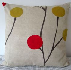 Floral retro red, white, grey and green cushion Cover, contemporary designer fabric slip cover, throw pillow