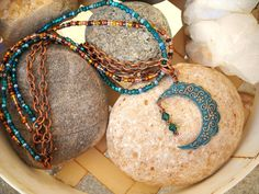 Over The Moon Boho Style Vintaj Patina Antique Copper and Teal Triple Strand Necklace by Beads4You2008 on Etsy https://www.etsy.com/listing/264422728/over-the-moon-boho-style-vintaj-patina
