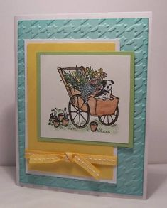 Stampin up card  Stamps: Summer Afternoon    Paper: Daffodil Delight, Pool Party, Certainly Celery, Whisper White    Ink: Jet Black