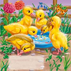 Diamond Painting Six Yellow Ducklings Kit Farm Animals, Animals And Pets, Cute Animals, Number Drawing, 5d Diamond Painting, Drawing Skills, Vintage Easter, Easy Paintings, Cute Cartoon