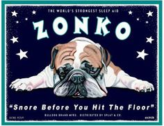 bulldog art print gift for dog owner lover retro pets zonko snore before you hit the floor