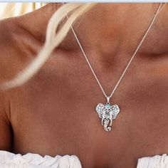 Bohemian Silver Elephant Charm Necklace