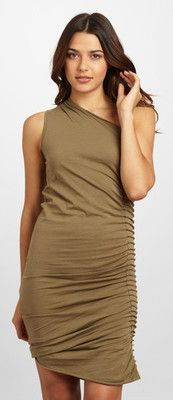 NWT JARBO One-Shoulder Dress with Side Pleat Color: Army Size: 40