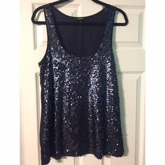 """""""Night Out"""" Sequin Tank Top Navy blue sequin-front tank top with a semi-sheer back. Perfect for going out dancing or New Years Eve. Only worn a few times. Fits true to size. Express Tops Tank Tops"""