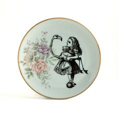 Recycled Alice in Wonderland with Flamingo Bird on Vintage Porcelain Plate Home Decor White Romantic