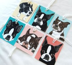 Boston Terrier Gift Tags - Set of 6 by AfricanGrey on Etsy https://www.etsy.com/listing/210268467/boston-terrier-gift-tags-set-of-6