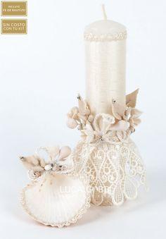 SET DE BAUTIZO  SBA-55 Cute Candles, Beautiful Candles, Pillar Candles, Baptism Candle, Baptism Gifts, Baby Girl Baptism, Baby Christening, Wedding Unity Candles, Handmade Candles
