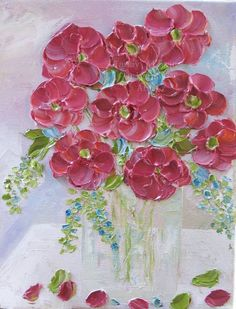 Pretty Pink shabby chic oil impasto where the flowers lift off the canvas.