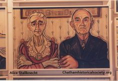 """From Alice Stallknecht mural """"Every Man to His Trade."""" Color photo of a portrait individually titled """"Shipwright.""""  Husband and wife depicted in painting. Located in the Mural Barn at Chatham Historical Society. #alicestallknecht, #muralbarn, #mural, #everymantohistrade, #chatham, #chathamhistoricalsociety, #capecod"""