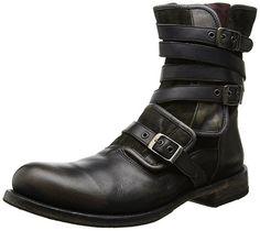 John Varvatos Men's EG Triple Buckle Boot,Charcoal,13 M US
