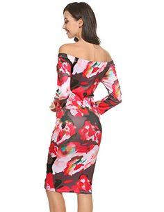 Zeagoo Kleider Damen casual Schulterfrei reizvolles schlankes Kleid mit mehrfarbiger Drucke Cocktailkleid Partykleid Größe S-XXL: Amazon.de: Bekleidung