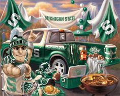 Awesome drawing of #Sparty ! #MSU Tailgating