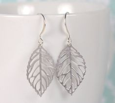 Silver Leaf Dangle Earrings by Theresa Rose Designs