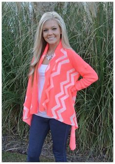 $38.00 Neon Pink Waterfall Cardigan