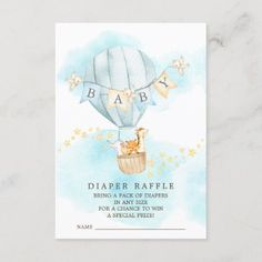 Baby Animals Hot Air Balloon Diaper Raffle Ticket Enclosure Card Balloon Rides, Hot Air Balloon, Baby Shower Invitation Cards, Pack Of Diapers, Diaper Raffle Tickets, Safari Party, Elephant Gifts, Baby Boy Shower, Baby Animals
