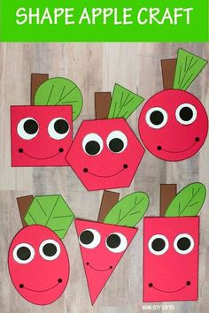 Apple shape math craft and writing activity for preschoolers, kindergartners and older kids. Great back to shool and fall craft #backtoschoolcraft #shapeapple #shapecraft #applecraft #fallcraft Fall Crafts For Toddlers, Easy Toddler Crafts, Easy Fall Crafts, Thanksgiving Crafts For Kids, Halloween Crafts For Kids, Crafts For Kids To Make, Writing Activities For Preschoolers, Fun Fall Activities, Montessori Activities