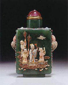 """Chinese Snuff Bottle. Embellished spinach jade, """"East Meets West."""""""