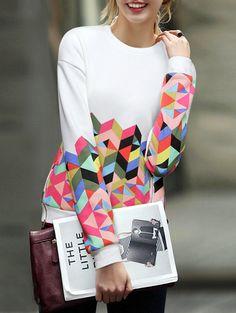 Lose Sweatshirt mit Geometrie Druck 15.47