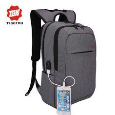 2017 Tigernu Men's Backpacks USB charging Bolsa Mochila for Laptop 14-15Inch Notebook Computer Bags Men Backpack School Rucksack <3 Click the VISIT button to find out more