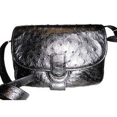 $399 1stdibs | Walter Katten genuine black ostrich  cross body bag
