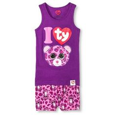 d1088f9932b Beanie Boos Girls Sleep Tank and Short Set-Purple Beanie Boo Party